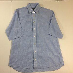 Gitman Brothers Linen Button Front Shirt Blue M